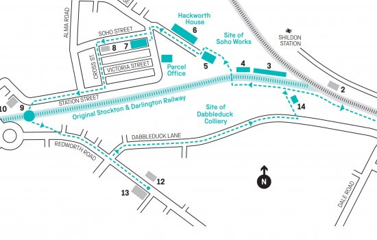 A map of the Shildon site